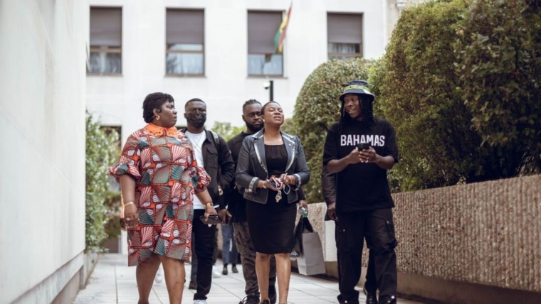 Embassy of Ghana, France gives Stonebwoy and His team a warm reception – see photos